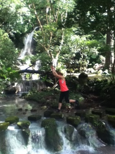 Playing by the Waterfall